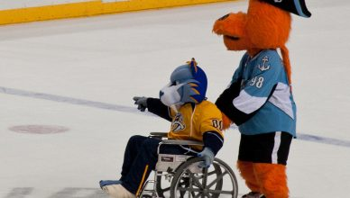 https://flic.kr/p/pD3KDz - Paul Nicholson - Predators mascot Gnash and Admirals mascot Roscoe